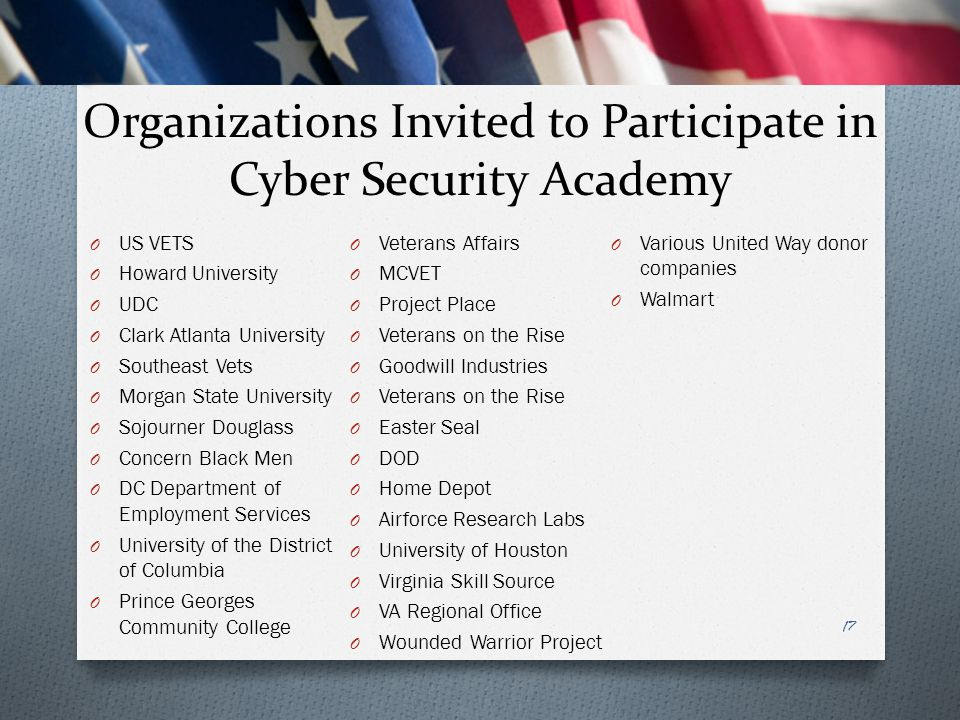 Organizations Invited to Participate in Cyber Security Academy O US VETS O Howard University O UDC O Clark Atlanta University O Southeast Vets O Morgan State University O Sojourner Douglass O Concern Black Men O DC Department of Employment Services O University of the District of Columbia O Prince Georges Community College O Veterans Affairs O MCVET O Project Place O Veterans on the Rise O Goodwill Industries O Veterans on the Rise O Easter Seal O DOD O Home Depot O Airforce Research Labs O University of Houston O Virginia Skill Source O VA Regional Office O Wounded Warrior Project O Various United Way donor companies O Walmart 17