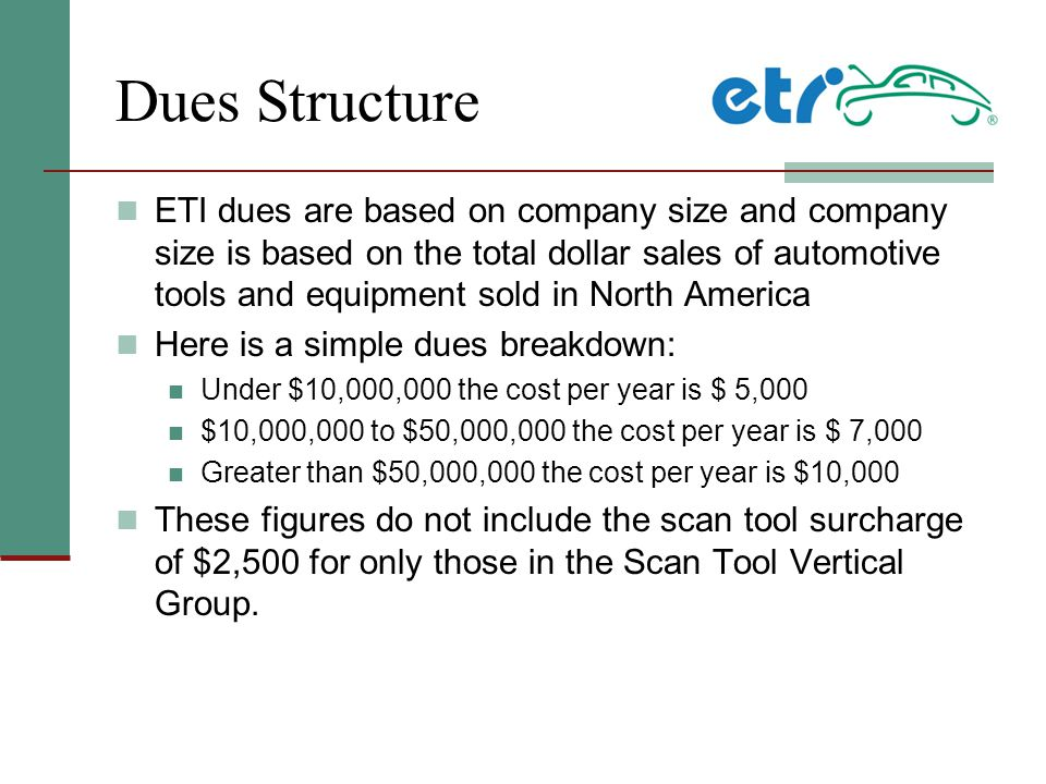 Dues Structure ETI dues are based on company size and company size is based on the total dollar sales of automotive tools and equipment sold in North America Here is a simple dues breakdown: Under $10,000,000 the cost per year is $ 5,000 $10,000,000 to $50,000,000 the cost per year is $ 7,000 Greater than $50,000,000 the cost per year is $10,000 These figures do not include the scan tool surcharge of $2,500 for only those in the Scan Tool Vertical Group.