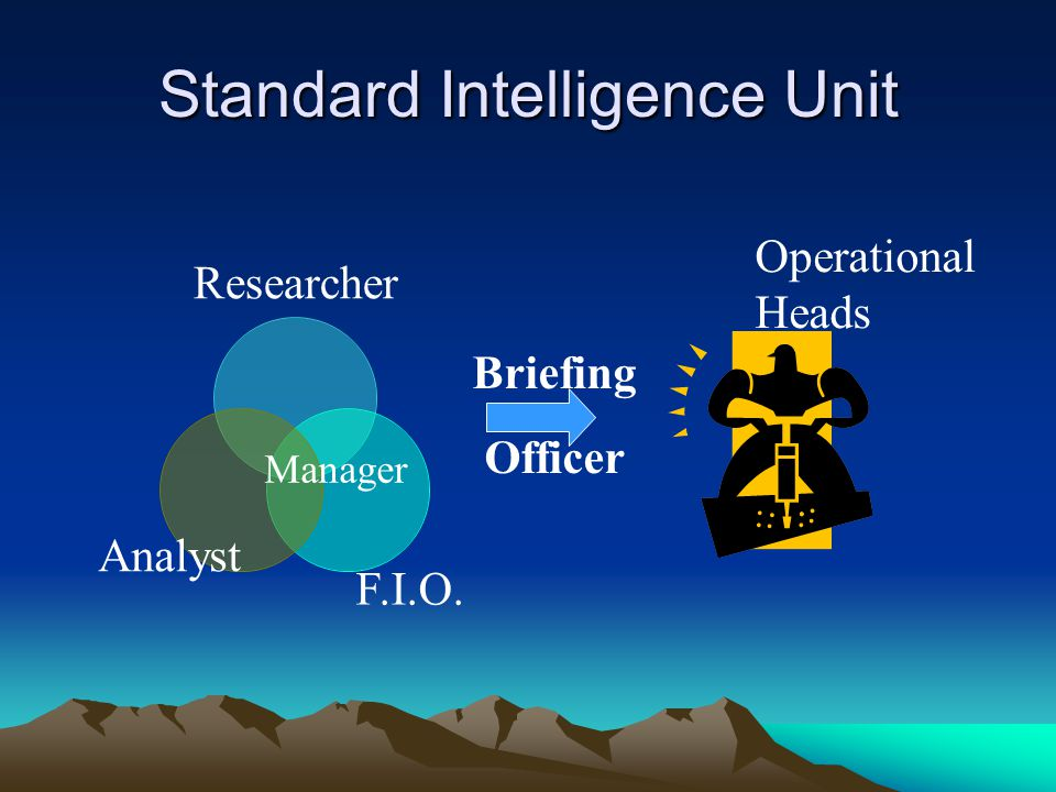 Standard Intelligence Unit Researcher Manager F.I.O. Analyst Operational Heads Briefing Officer