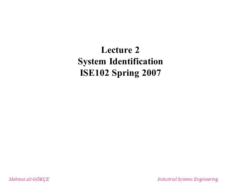 Mahmut Ali GÖKÇEIndustrial Systems Engineering Topics System Identification Process System Identification Exercise System Design Discussion –Waterfall –Spiral development Costing