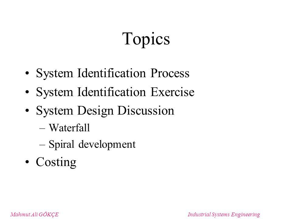 Mahmut Ali GÖKÇEIndustrial Systems Engineering Waterfall Process for System D&D