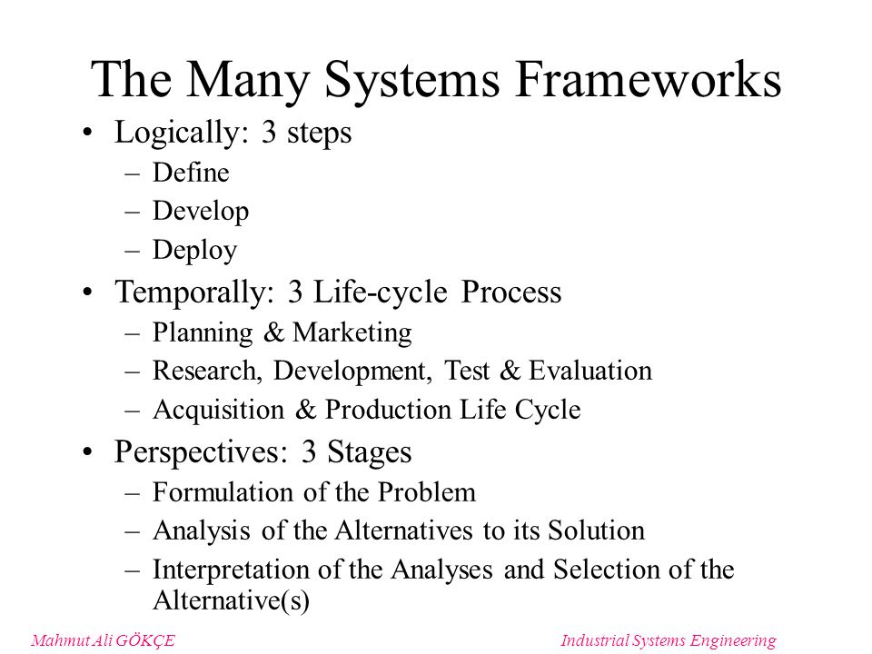 Mahmut Ali GÖKÇEIndustrial Systems Engineering Method of Analysis Shows roles of information and materials with respect to activity Each ICOM represents an activity or business step that can be broken down Inputs: information/material used to produce activity output Controls: Constraints on an activity Mechanisms: That perform processing or provide energy to the activity (people or machines as mechanisms) Output: The product of the activity