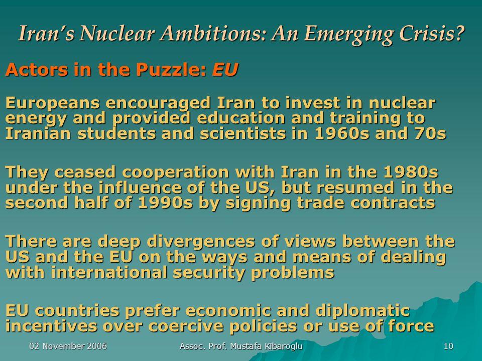 02 November 2006 Assoc. Prof. Mustafa Kibaroglu 10 Iran's Nuclear Ambitions: An Emerging Crisis.