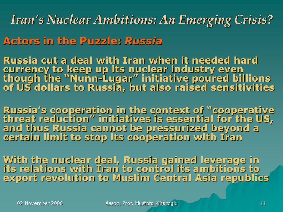 02 November 2006 Assoc. Prof. Mustafa Kibaroglu 11 Iran's Nuclear Ambitions: An Emerging Crisis.
