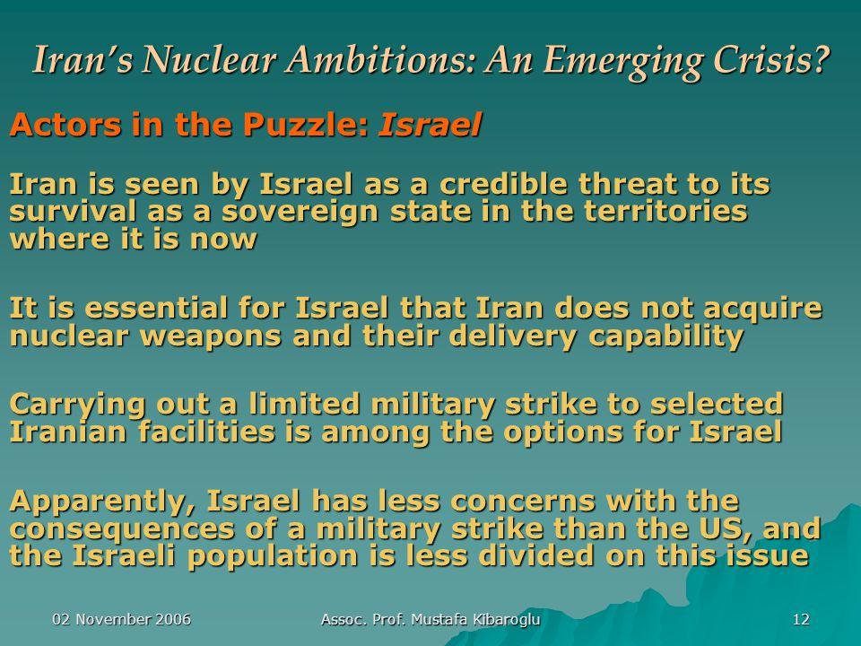 02 November 2006 Assoc. Prof. Mustafa Kibaroglu 12 Iran's Nuclear Ambitions: An Emerging Crisis.