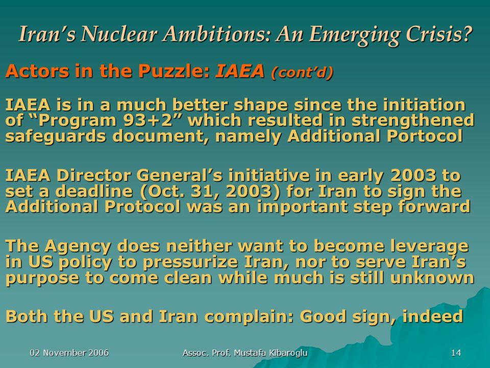 02 November 2006 Assoc. Prof. Mustafa Kibaroglu 14 Iran's Nuclear Ambitions: An Emerging Crisis.