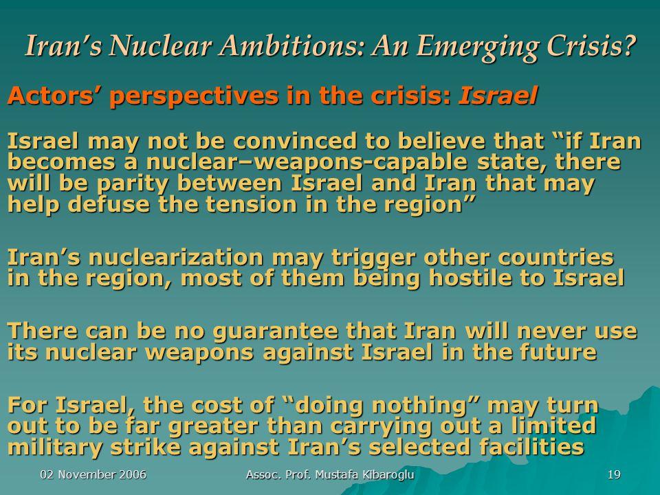 02 November 2006 Assoc. Prof. Mustafa Kibaroglu 19 Iran's Nuclear Ambitions: An Emerging Crisis.