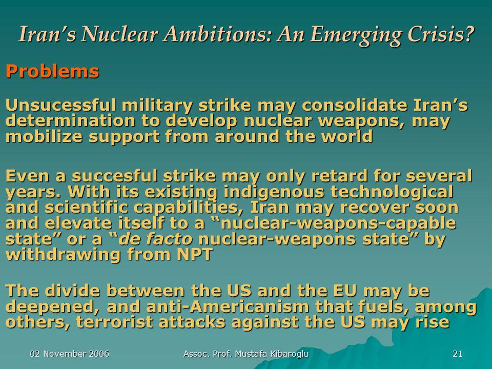 02 November 2006 Assoc. Prof. Mustafa Kibaroglu 21 Iran's Nuclear Ambitions: An Emerging Crisis.