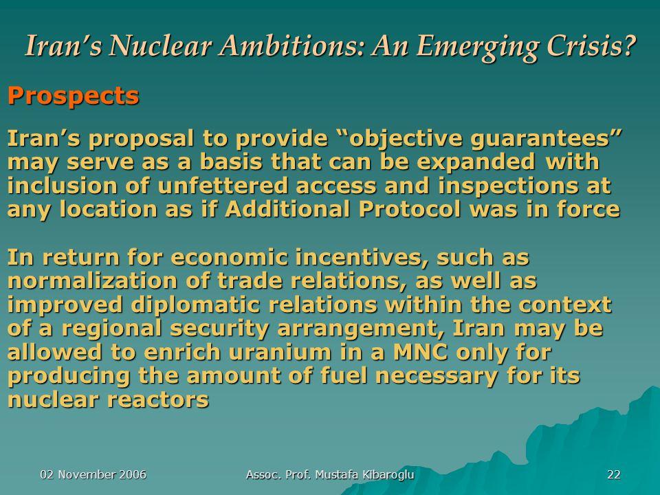 02 November 2006 Assoc. Prof. Mustafa Kibaroglu 22 Iran's Nuclear Ambitions: An Emerging Crisis.