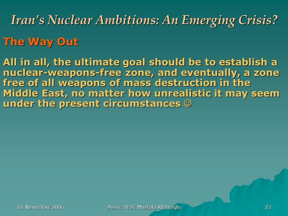 02 November 2006 Assoc. Prof. Mustafa Kibaroglu 23 Iran's Nuclear Ambitions: An Emerging Crisis.
