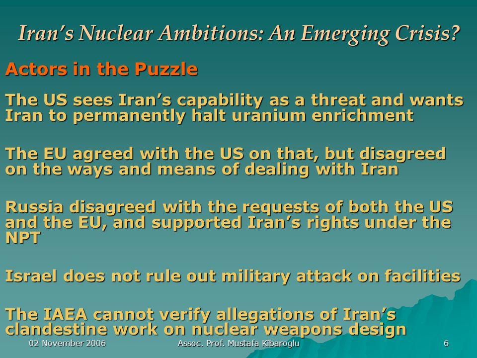 02 November 2006 Assoc. Prof. Mustafa Kibaroglu 6 Iran's Nuclear Ambitions: An Emerging Crisis.