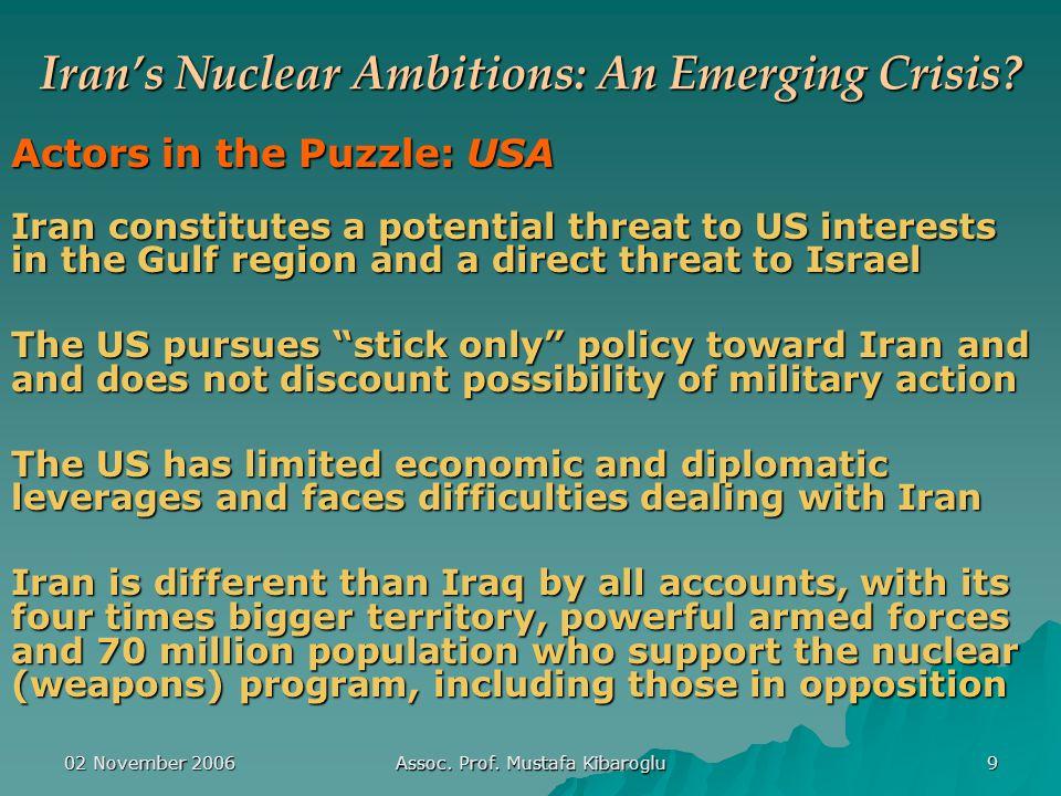 02 November 2006 Assoc. Prof. Mustafa Kibaroglu 9 Iran's Nuclear Ambitions: An Emerging Crisis.
