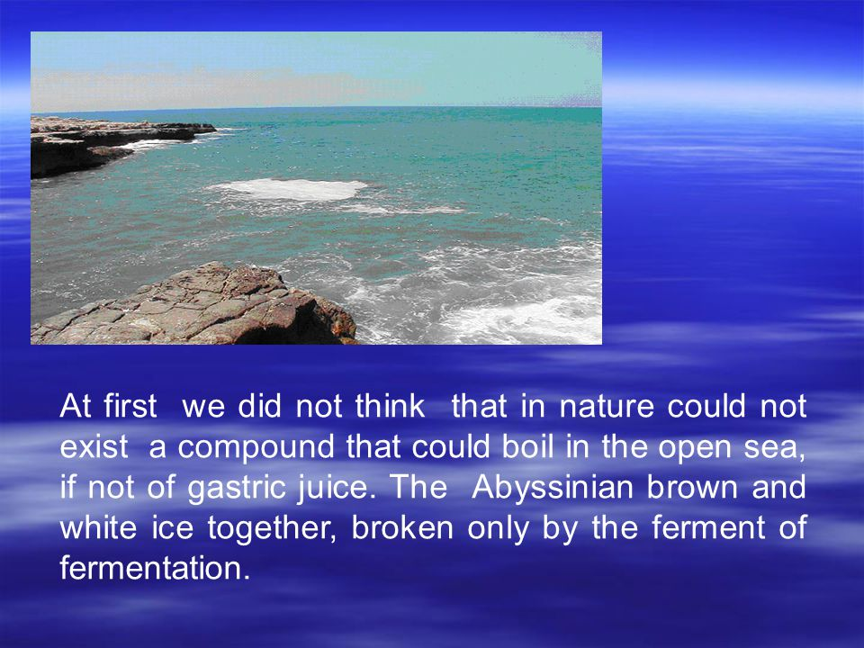At first we did not think that in nature could not exist a compound that could boil in the open sea, if not of gastric juice.