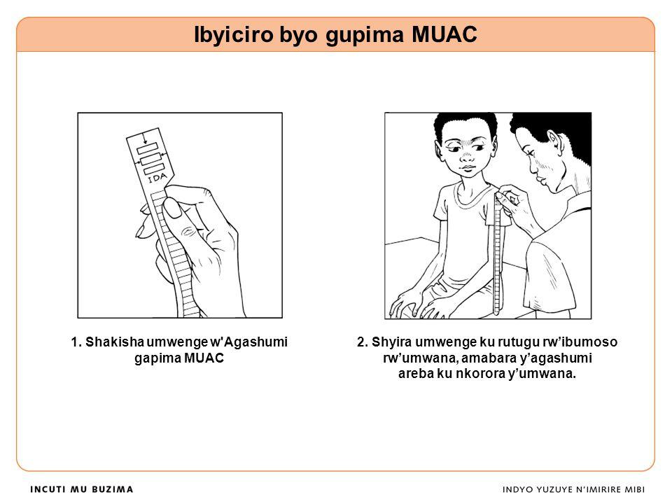 1.Shakisha umwenge w Agashumi gapima MUAC Ibyiciro byo gupima MUAC 2.