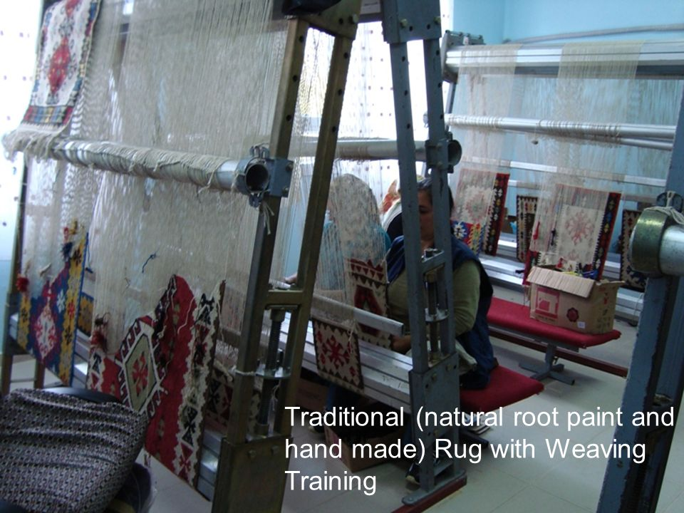 Traditional (natural root paint and hand made) Rug with Weaving Training