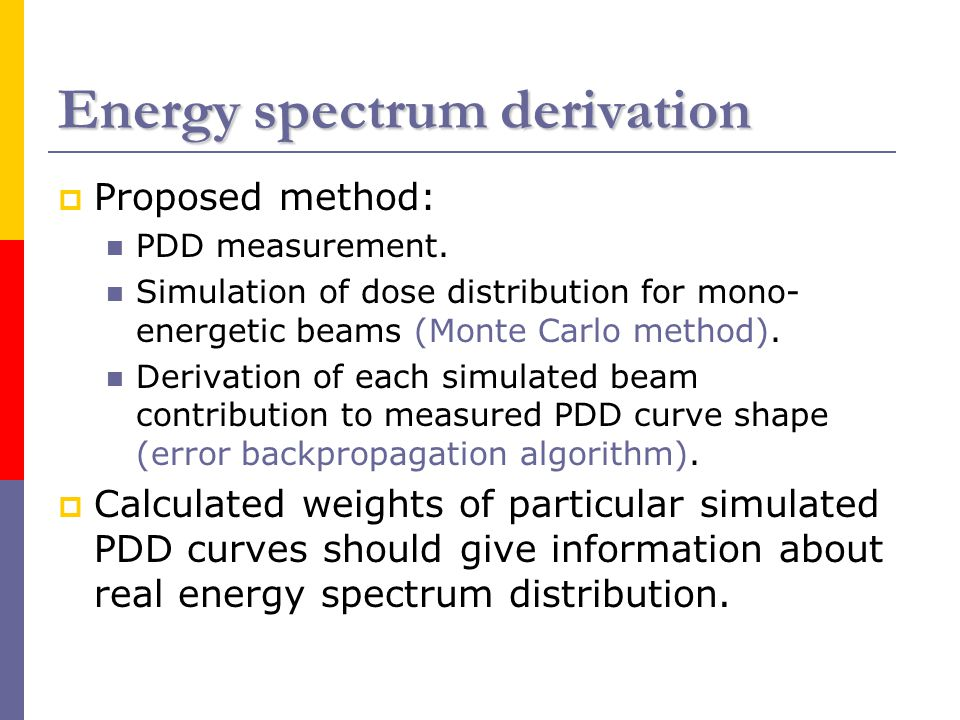 Energy spectrum derivation  Proposed method: PDD measurement.