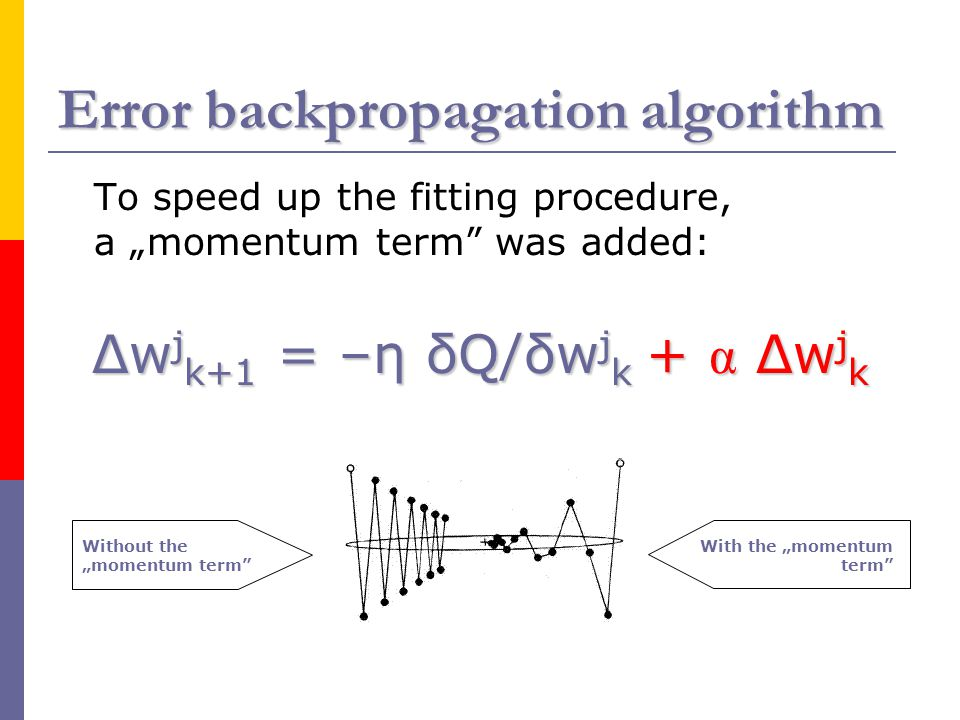 "Error backpropagation algorithm To speed up the fitting procedure, a ""momentum term"" was added: Δw j k+1 = –η δQ/δw j k + α Δw j k Without the ""moment"