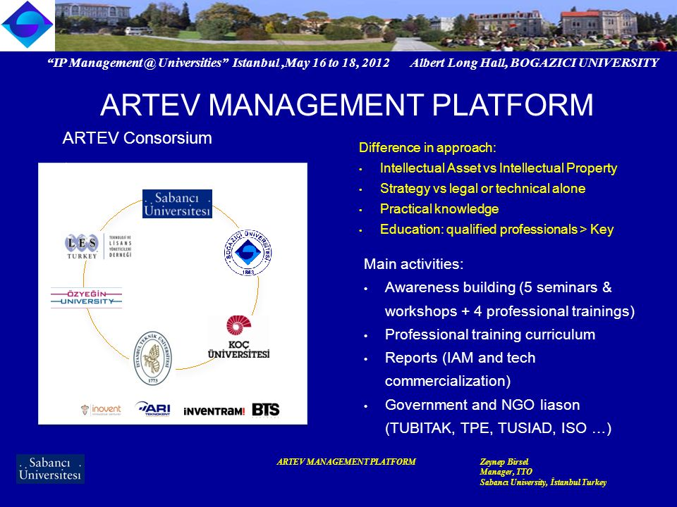 IP Management @ Universities Istanbul,May 16 to 18, 2012 Albert Long Hall, BOGAZICI UNIVERSITY ARTEV MANAGEMENT PLATFORMZeynep Birsel Manager, TTO Sabancı University, İstanbul Turkey ARTEV MANAGEMENT PLATFORM Why we did what we did...