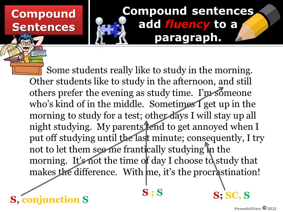CompoundSentencesCompoundSentences S ; S S, conjunction S S; SC, S Some students really like to study in the morning.