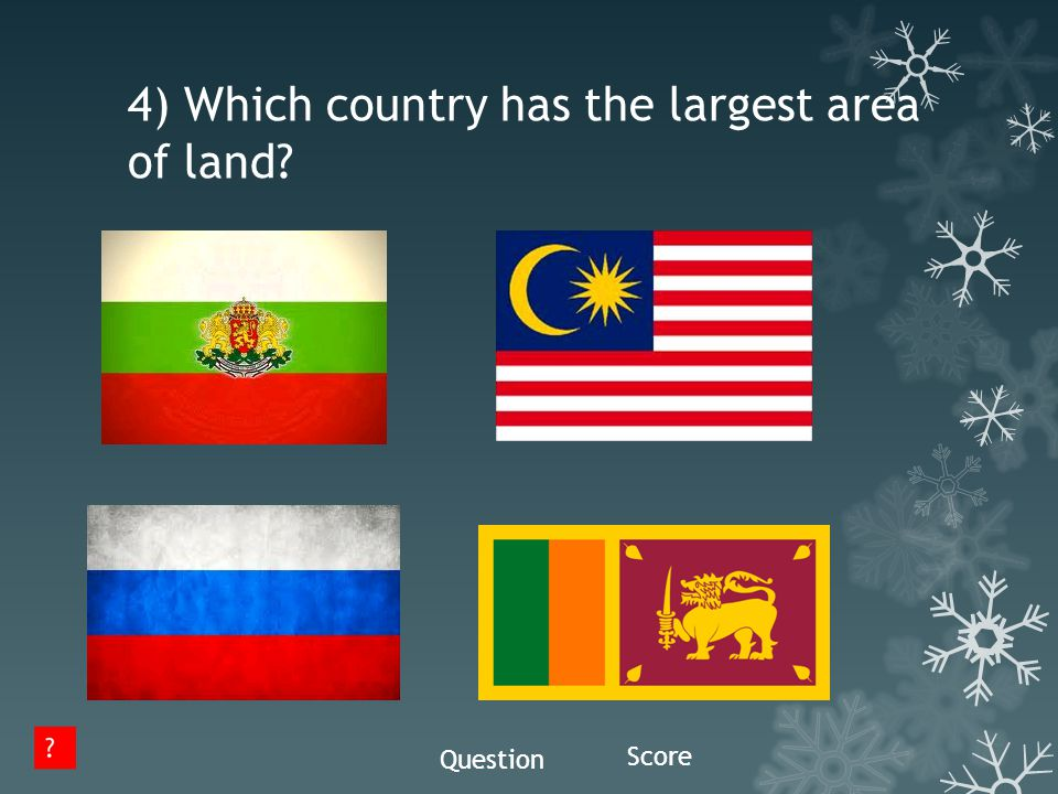 4) Which country has the largest area of land? Question Score