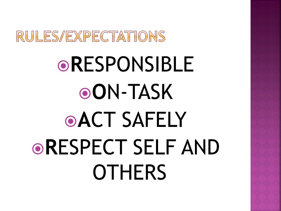  RESPONSIBLE  ON-TASK  ACT SAFELY  RESPECT SELF AND OTHERS