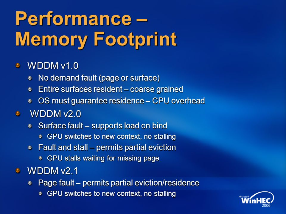 Performance – Memory Footprint WDDM v1.0 No demand fault (page or surface) Entire surfaces resident – coarse grained OS must guarantee residence – CPU overhead WDDM v2.0 WDDM v2.0 Surface fault – supports load on bind GPU switches to new context, no stalling Fault and stall – permits partial eviction GPU stalls waiting for missing page WDDM v2.1 Page fault – permits partial eviction/residence GPU switches to new context, no stalling