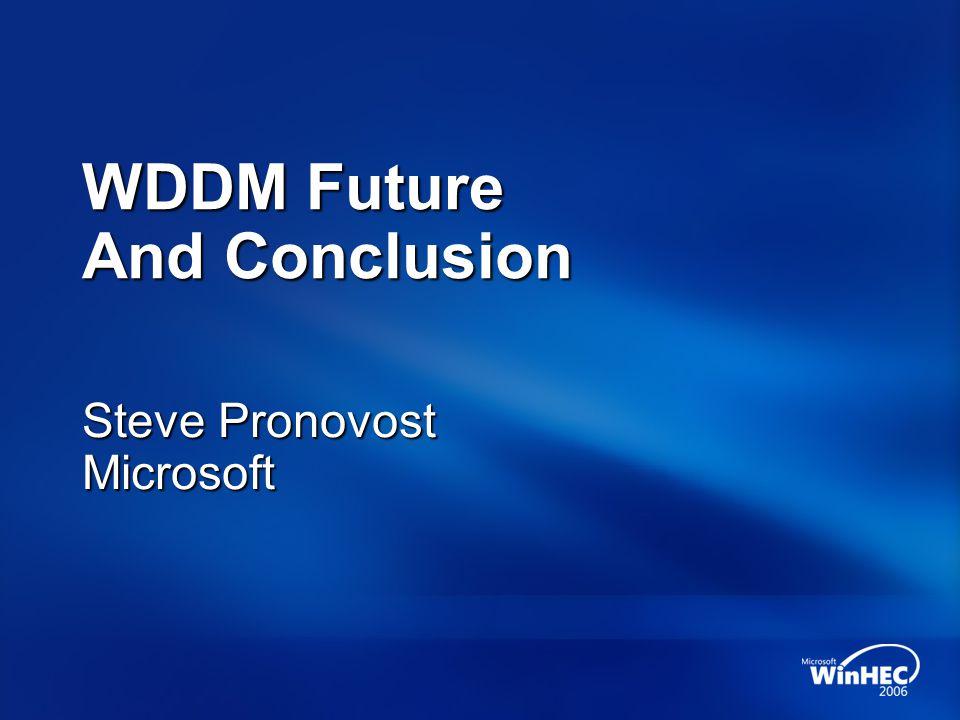 WDDM Future And Conclusion Steve Pronovost Microsoft