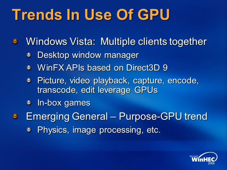 Trends In Use Of GPU Windows Vista: Multiple clients together Desktop window manager WinFX APIs based on Direct3D 9 Picture, video playback, capture, encode, transcode, edit leverage GPUs In-box games Emerging General – Purpose-GPU trend Physics, image processing, etc.