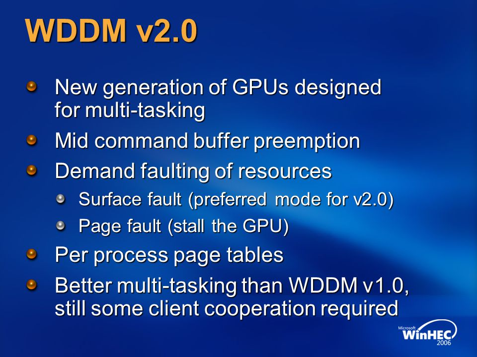 WDDM v2.0 New generation of GPUs designed for multi-tasking Mid command buffer preemption Demand faulting of resources Surface fault (preferred mode for v2.0) Page fault (stall the GPU) Per process page tables Better multi-tasking than WDDM v1.0, still some client cooperation required