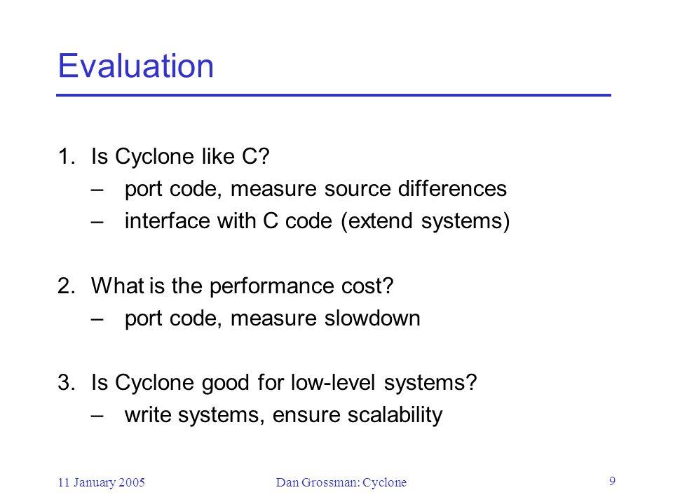 11 January 2005Dan Grossman: Cyclone 30 Type definitions struct ILst { int@`r1 hd; struct ILst *`r2 tl; }; 10 81 11 0