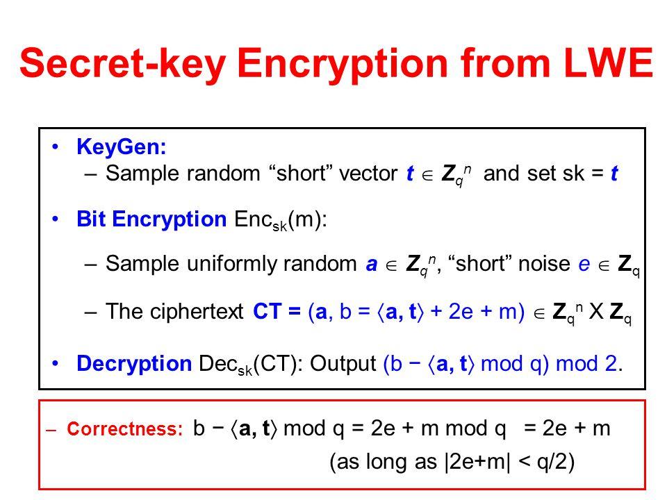 Secret-key Encryption from LWE Decryption: Dec s (a,b) = ( b -  a, s  ) (mod 2). –Correctness: b -  a, s  = b - ∑a [ i ] ∙s [ i ] = m + 2e (over Z