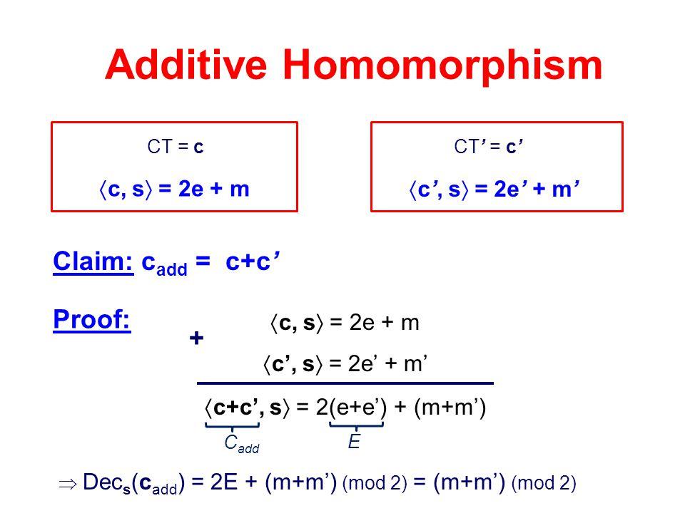 CT = c Additive Homomorphism CT' = c' Claim: c add = c+c'  c, s  = 2e + m  c', s  = 2e' + m'  c, s  = 2e + m  c', s  = 2e' + m'  c+c', s  =