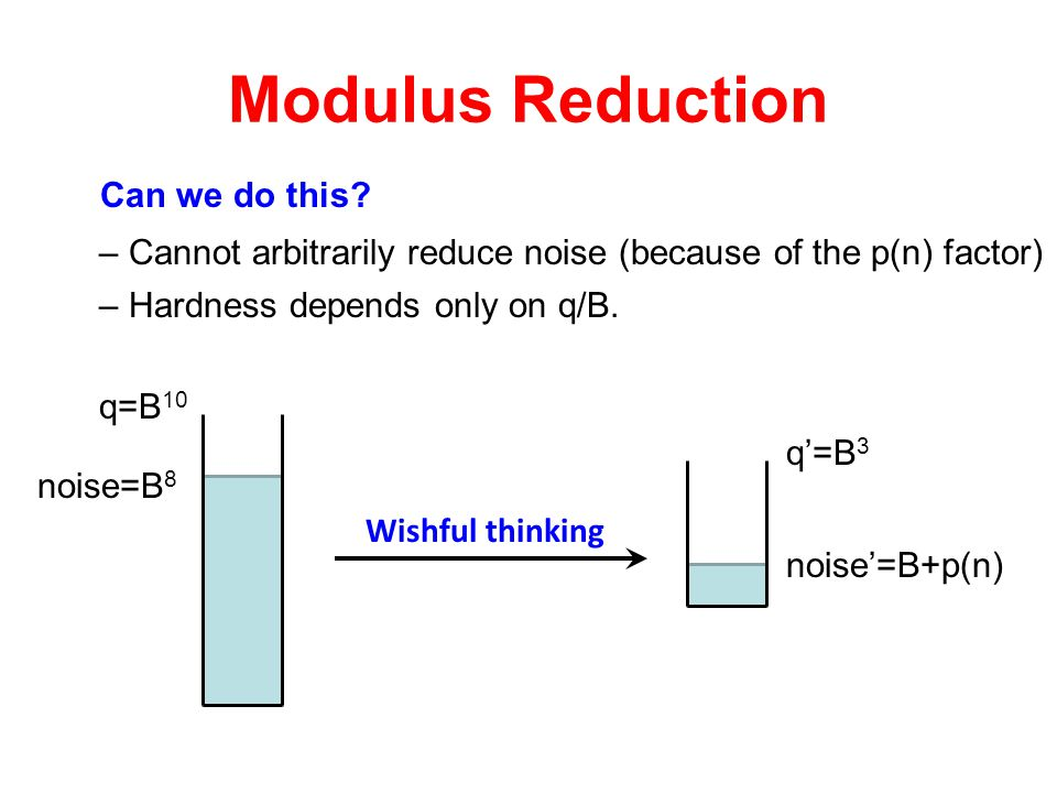 Modulus Reduction Wishful thinking q=B 10 noise=B 8 q'=B 3 Can we do this? noise'=B+p(n) – Cannot arbitrarily reduce noise (because of the p(n) factor