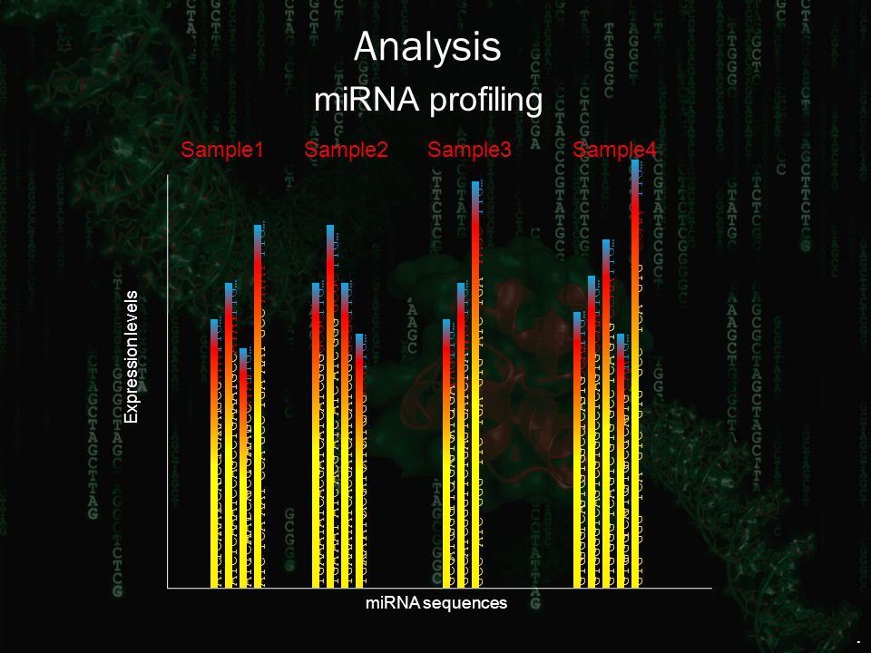 Expression levels miRNA sequences miRNA profiling TGAATCACGGCGCAATTTG…ATC GGGATCGCCGGGTAGCTTCATCTTG…TGAGTGATCTGA TCAGTG CCAA GTCGGG TTG… GTG TCAGCCGTG