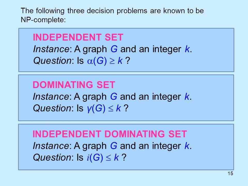 15 INDEPENDENT SET Instance: A graph G and an integer k.