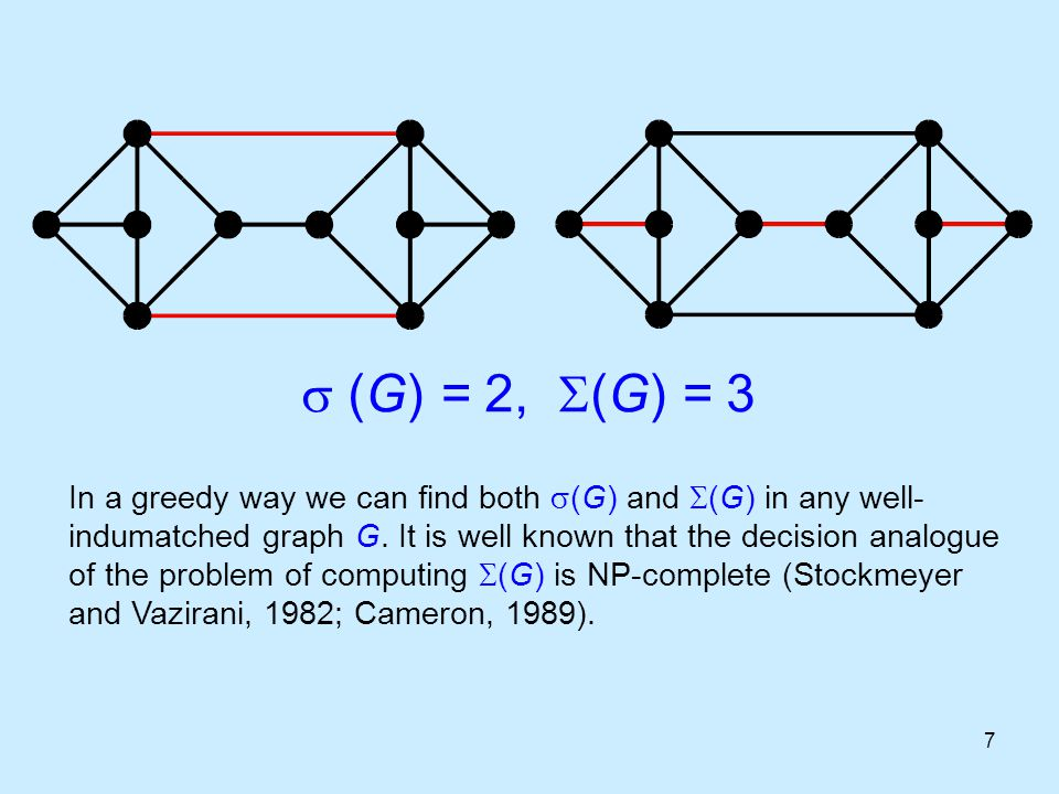 7  (G) = 2,  (G) = 3 In a greedy way we can find both  (G) and  (G) in any well- indumatched graph G. It is well known that the decision analogue