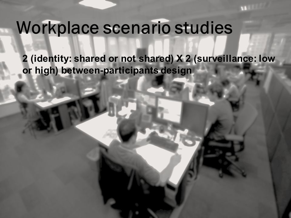 Workplace scenario studies 2 (identity: shared or not shared) X 2 (surveillance: low or high) between-participants design