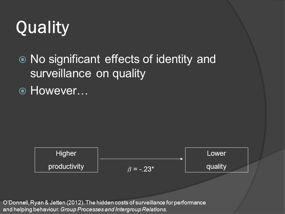 Quality  No significant effects of identity and surveillance on quality  However… Higher productivity Lower quality  = -.23* O'Donnell, Ryan & Jett