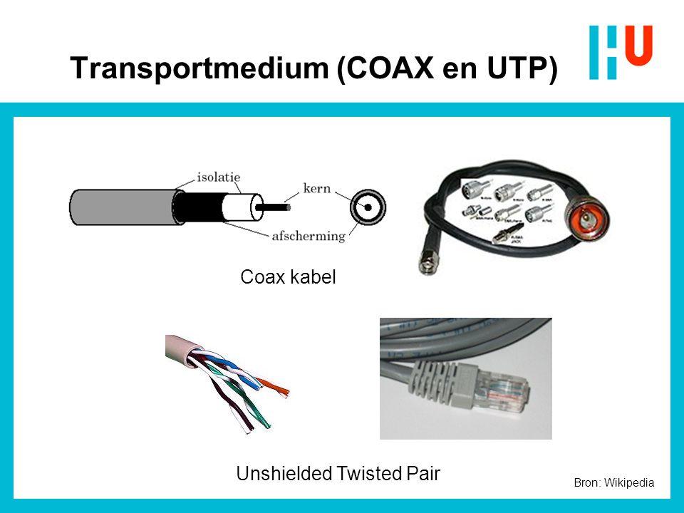Transportmedium (COAX en UTP) Coax kabel Unshielded Twisted Pair Bron: Wikipedia