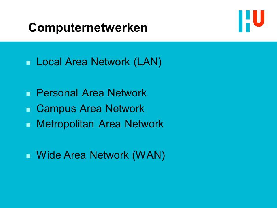 Computernetwerken n Local Area Network (LAN) n Personal Area Network n Campus Area Network n Metropolitan Area Network n Wide Area Network (WAN)