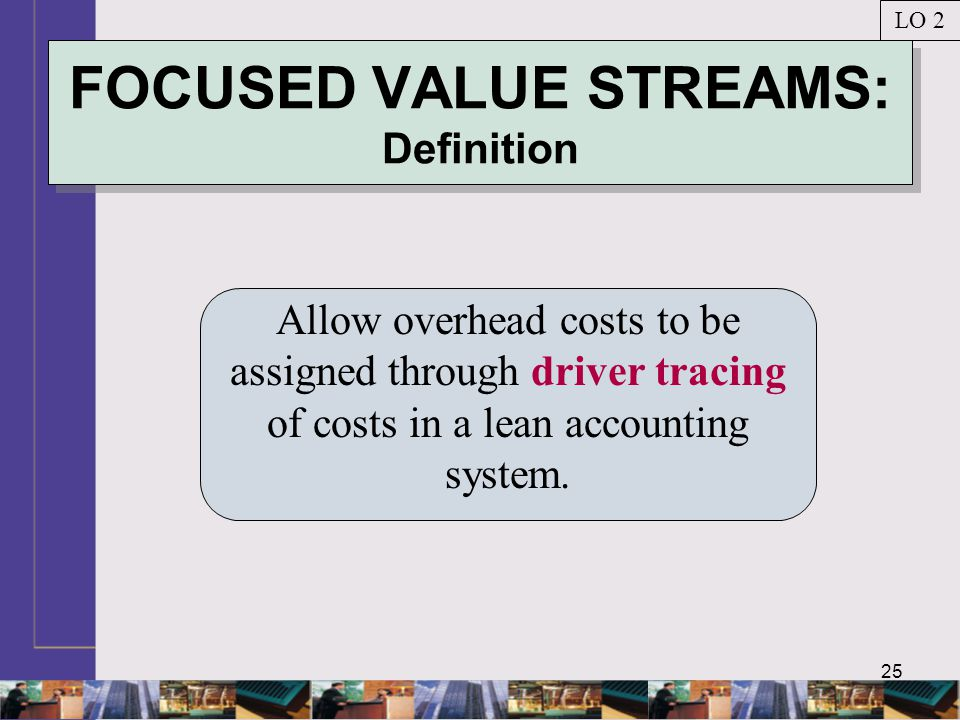 25 FOCUSED VALUE STREAMS: Definition Allow overhead costs to be assigned through driver tracing of costs in a lean accounting system. LO 2