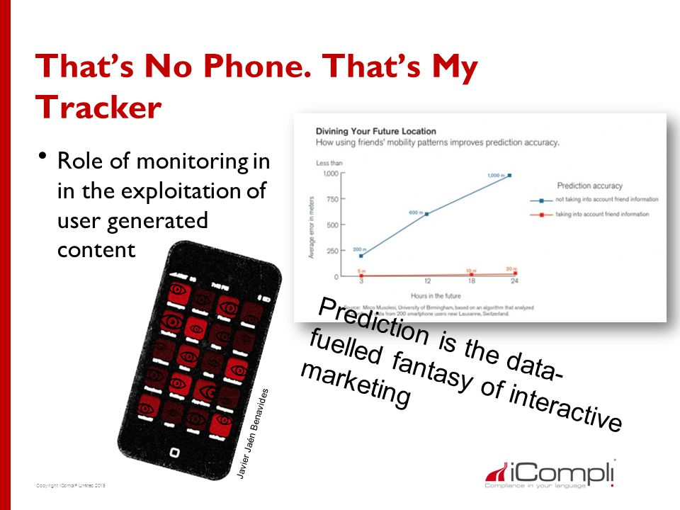 Copyright iCompli ® Limited 2015 That's No Phone. That's My Tracker  Role of monitoring in in the exploitation of user generated content Prediction i
