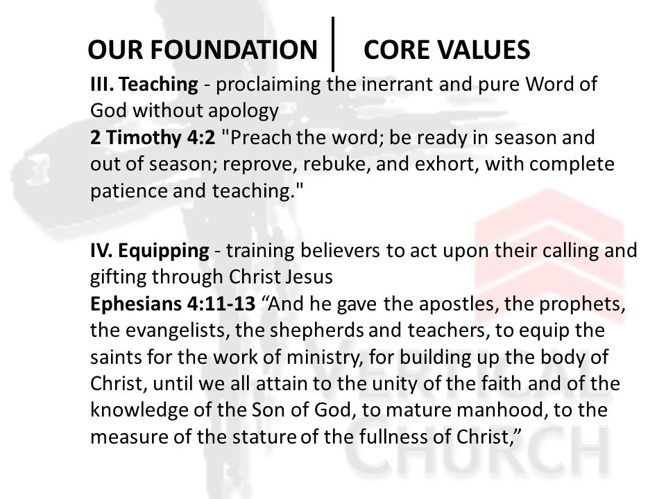 III. Teaching - proclaiming the inerrant and pure Word of God without apology 2 Timothy 4:2