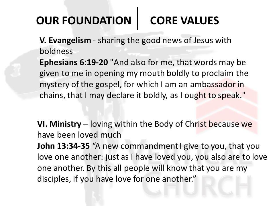 V. Evangelism - sharing the good news of Jesus with boldness Ephesians 6:19-20