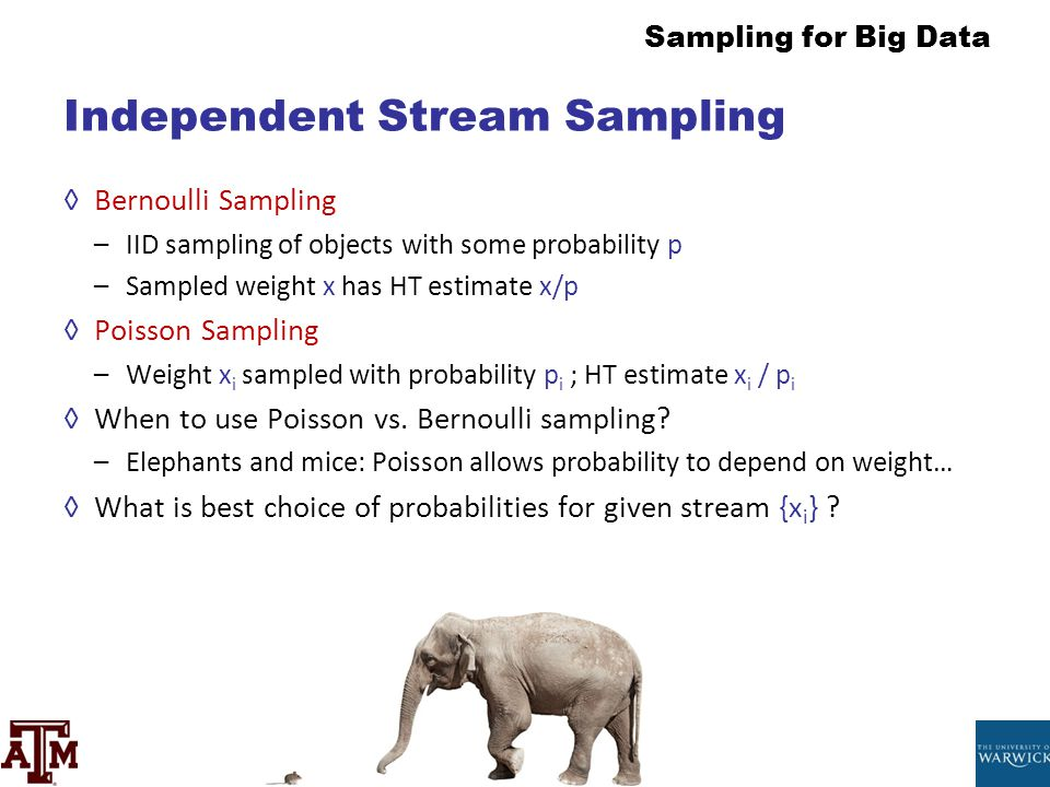 Sampling for Big Data Independent Stream Sampling ◊Bernoulli Sampling –IID sampling of objects with some probability p –Sampled weight x has HT estima
