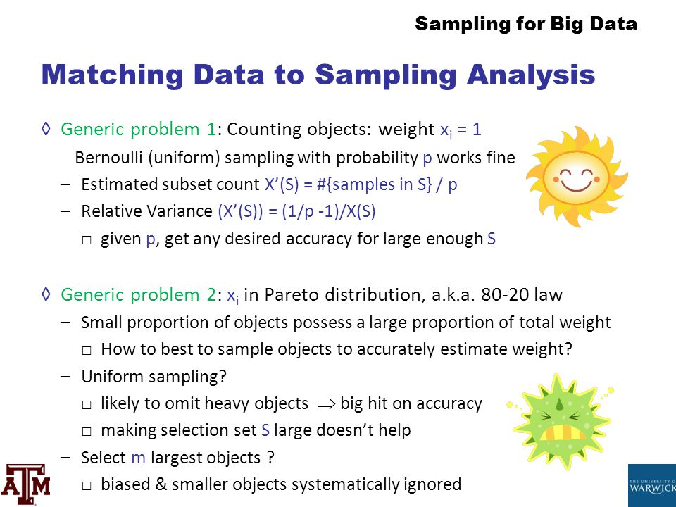 Sampling for Big Data Matching Data to Sampling Analysis ◊Generic problem 1: Counting objects: weight x i = 1 Bernoulli (uniform) sampling with probab