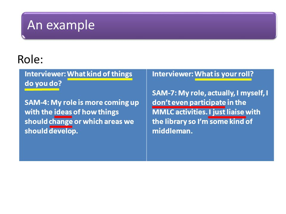 Role: An example Interviewer: What kind of things do you do.