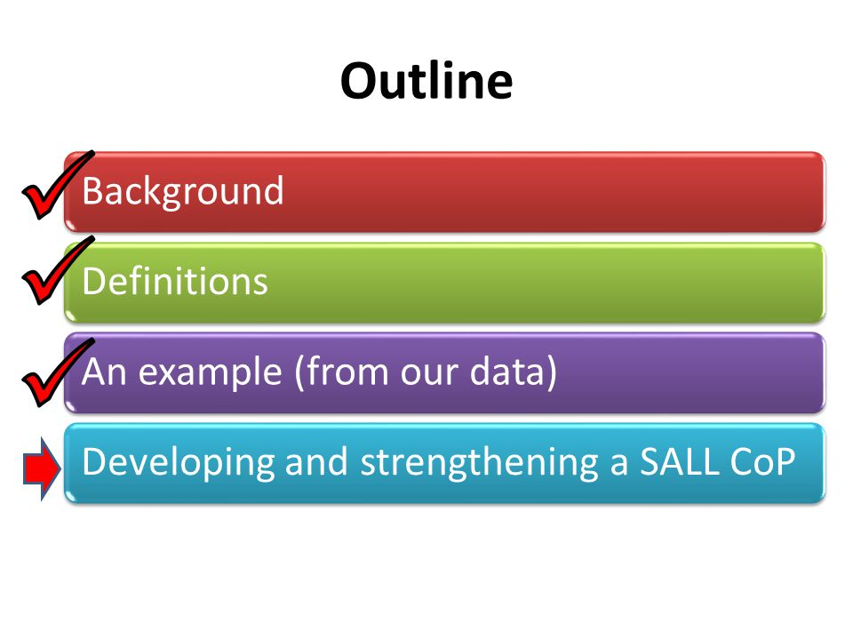 Outline BackgroundDefinitionsAn example (from our data)Developing and strengthening a SALL CoP