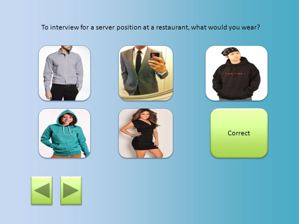 To interview for a server position at a restaurant, what would you wear? This would not be appropriate for an interview.