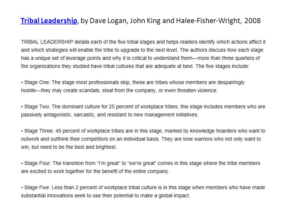 Tribal LeadershipTribal Leadership, by Dave Logan, John King and Halee-Fisher-Wright, 2008